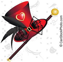 červené šaty opatřit vrškem, klobouk