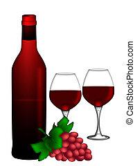červené šaty víno, láhev, a, dva, brýle, a, chomáč k zrnko vína