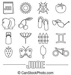 červen, měsíc, námět, dát, o, jednoduchý, nárys, ikona, eps10