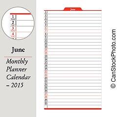 červen, montly, projektant, kalendář, -, 2015