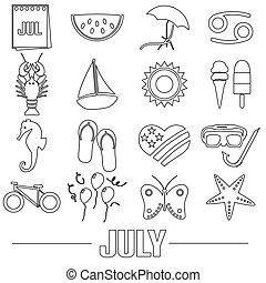 červenec, měsíc, námět, dát, o, jednoduchý, nárys, ikona, eps10