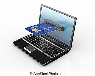 čest, počítač na klín, e-commerce., card.