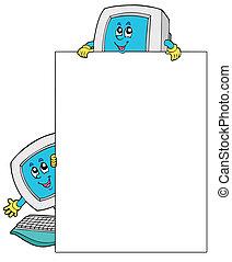 čistý, konstrukce, s, dva, počítač