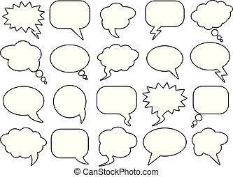 čistý, neobsazený, řeč, bublat, jako, infographics