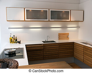 čistit, moderní, dřevěný, zaměstnání, moderní, design, kuchyně
