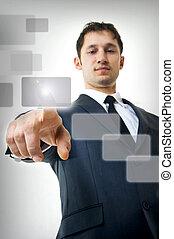 člověk obchodního ducha, naléhavý, jeden, touchscreen, knoflík