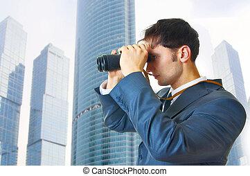 člověk obchodního ducha, s, dalekohled