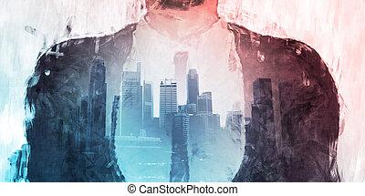 člověk obchodního ducha, stálý, před, staré město londýnské