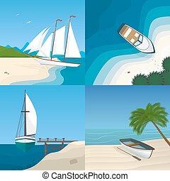 člun, do, ta, moře, byt, vektor, ilustrace