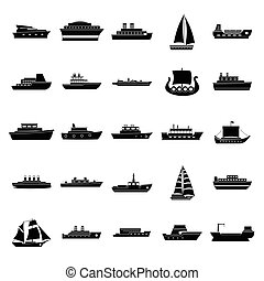 člun, ikona, dát, jednoduchý, móda