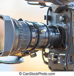 čočka, kamera, obrazový camcorder