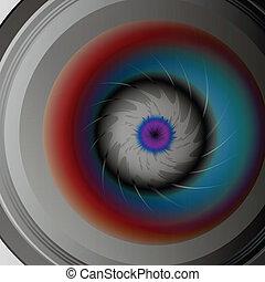 čočka, kamera, oko, barvitý
