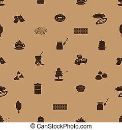 čokoláda, ikona, seamless, hněď, model, eps10