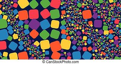 čtverec, duha, barvitý, geometrický, abstraktní, grafické pozadí