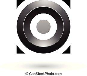 čtverec, ilustrace, vektor, čerň, lesklý, kruh