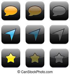 čtverec, moderní, app, icons.