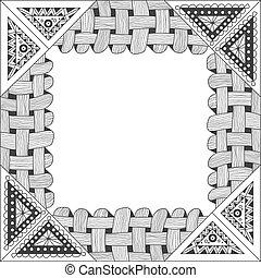čtverec, temný i kdy běloba, konstrukce, s, okrasa, klikyháky, style.