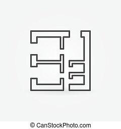 čtverec, ubytovat se, plán, vektor, ikona
