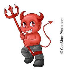 ďábel, karikatura, červeň