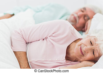 łóżko, para, spanie