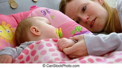 łóżko, sen, 4k, niemowlę, kładzenie, macierz, jego