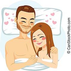łóżko, tulenie, para