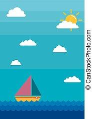 łódka, żagiel, chmury, morze, tło