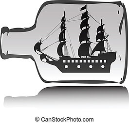 łódka, butelka, ilustracja, pirat