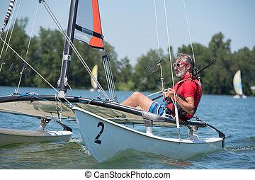 łódka, człowiek