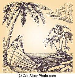 łódka, na, morski brzeg, tropikalna wyspa, i, dłoń drzewo
