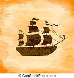 łódka, na, przedimek określony przed rzeczownikami, tło, grunge