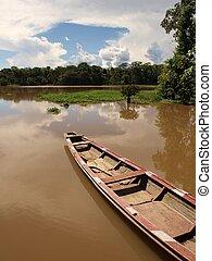 łódka, w, amazon rzeka, laguna