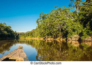 łódka, w, przedimek określony przed rzeczownikami, rzeka, w, przedimek określony przed rzeczownikami, peruwiański, amazon dżungla, na, madre, od, dios