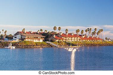 łódki, domy, ventura, kosztowny