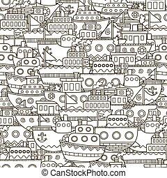 łódki, doodle, seamless, próbka