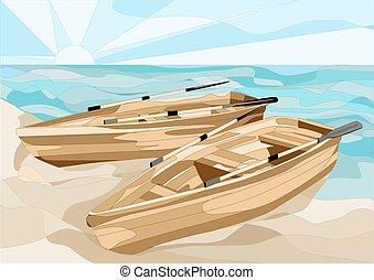 łódki, morze