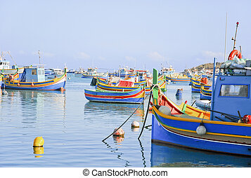 łódki, port, malta, barwny, wędkarski