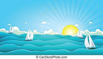 łódki, szeroki, ocean, nawigacja, lato