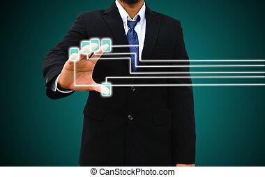 łów, ekran, dotyk, palec, interfejs, biznesmen