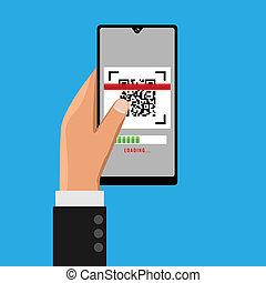 łów, smartphone, ręka, qr, dzierżawa, illustration.., code.