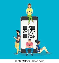 łów, smartphones, ludzie, promo, qr-code, online, banners., ilustracja, zamawianie, ruchomy, wektor, kupny, towary, używając