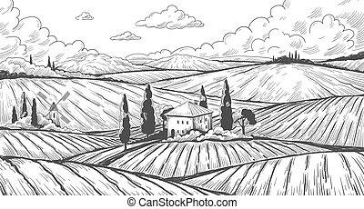 łąka, kraj, ręka, zagroda, engraving., krajobraz, wiejski, farmland, górki, house., rys, okolica, wektor, pola, pociągnięty, rocznik wina