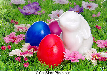 łąka, wielkanoc, kwiat 02, jaja
