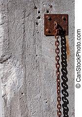 łańcuch, ściana, zardzewiały, wisząc, wzdłuż, silny