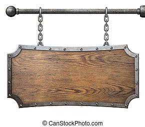 łańcuch, ułożyć, metal, odizolowany, znak, drewno, wisząc