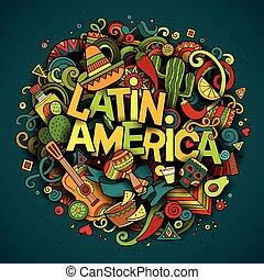 łacina, doodle, ilustracja, ręka, america., wektor, ...