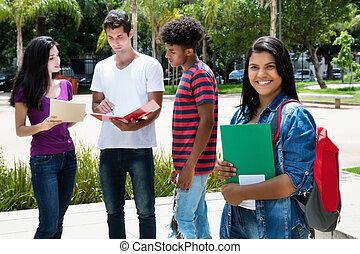 łacina, grupa, student, studenci, amerykanka, inny, samica, międzynarodowy, krajowiec