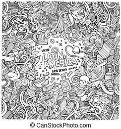 łacina, ułożyć, hand-drawn, amerykanka, doodles, rysunek