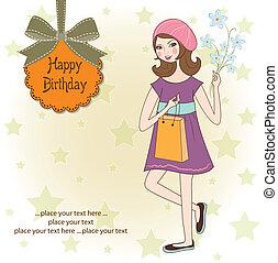 ładna dziewczyna, z, dar, i, flowers., urodzinowa karta