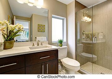 ładny, łazienka, z, szkło, shower.